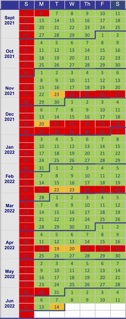 Lesson calendar 2021-2022